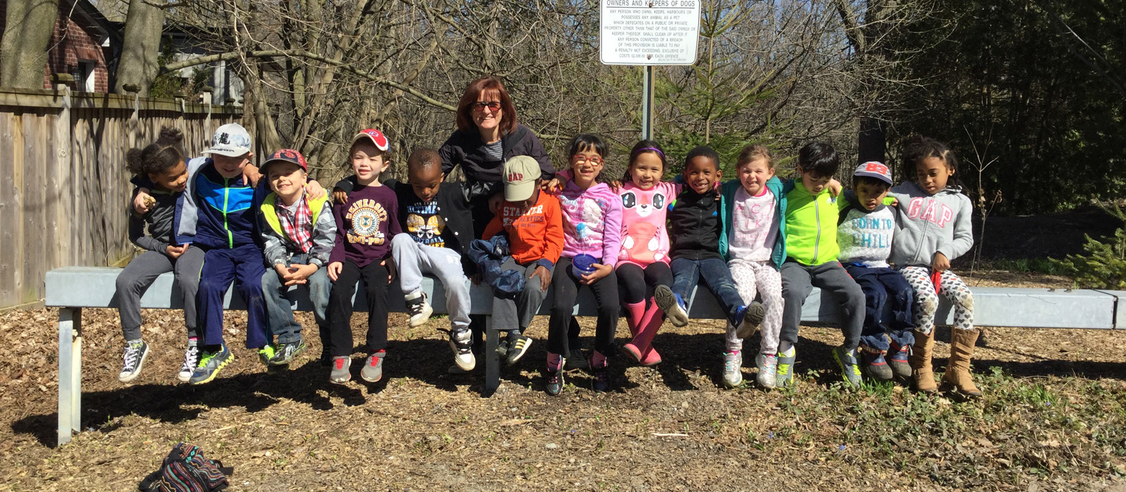Kindergarten students outside
